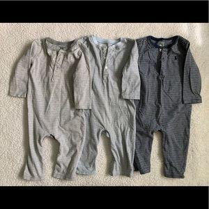 Ralph Lauren 3 item bundle of striped Rompers grey